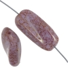 Glass Bead Long Rectangle 22x10mm Mauve Marble Strung